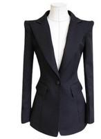 Free Shipping 2014 Spring Slim Suit Plus Size , Female A Buckle Black Suit , Woman Blazer Autumn Outerwear S-M-L-XL-XXL-XXXL