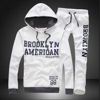 With a hood pullover sweatshirt male thickening sportswear autumn and winter plus velvet cotton set DJS01
