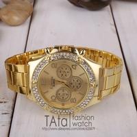 The new high quality steel band watch men, rhinestone watch, quartz watch, free shipping.wg004
