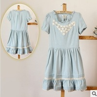 2014 new arrival Women spring/autumn Japanese fresh lace Patchwork vintage slim waist jeans brand cotton dress