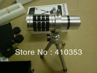 HOT SELL!1 pcs/lot Free Shipping+12X Zoom Lens for iPhone 4/4S/5/5s and mobile phone  ,With accessories.