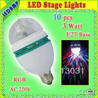 E27 3W RGB LED Mini Party Light Lamp Holiday Light Auto Rotating full color Bulb for dancing 10 pcs/lot
