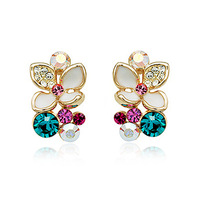 Charming Colorful Crystal/Rhinestone Stud Earrings With Attractive Flower Shape Shining 18K Gold Plated Earrings