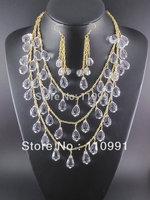 Teardrop Gold Chain Choker Bib Statement Beaded Statement Necklaces Chunky Jewelry for women