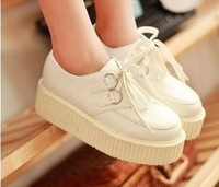 Free shipping Popular Fashion Girl's Women's Lace Up High Punk Checker Platform Flats Creeper  White Shoes