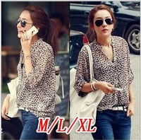 New fashion Women Wild Leopard print chiffon blouse lady Long-sleeve shirt Top plus loose size V neck blouse top M/L/XL