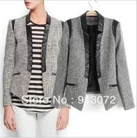 CT362 New Fashion Ladies' & Girls Pu leather & Woolen Patchwork Casual Blazer gray slim OL coat Brand designer  tops
