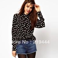 New fashion womens' elegant Black White Polk dot print Chiffon Blouse girl' s OL vintage slim casual shirt long sleeve
