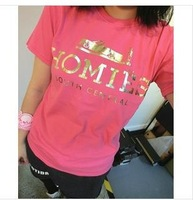women's summer short sleeve homies golden letter t shirt top