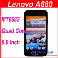 Android Cellphone Lenovo A680 Android Smartphone 5inch MTK6582 Quad Core 1.3GHz Android 4.2 3G GPS In stock Free Shipping
