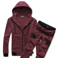 2013 men's autumn clothing sweatshirt with a hood cardigan fitness clothing slim casual male sports set