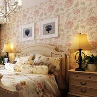 Wallpaper flower non-woven wallpaper flocking bedding room sofa wall wallpaper 10m