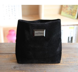 Exquisite black thick soft velvet storage bag cosmetic bag large clutch 110g(China (Mainland))