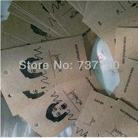 custom printed logo apparel price kaft paper hang tag/cardboard gift swing tag/Brown labels
