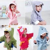 1pcs Fashion cute carton boy girl Animal Baby bathrobe/hooded bath towel/kids bath terry children infant bathing robe