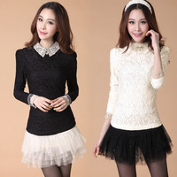 2013 peter pan collar slim plus velvet lace basic shirt plus size clothing female long-sleeve t-shirt
