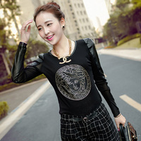 2013 women's top gauze basic shirt long-sleeve T-shirt female thickening plus velvet t shirt