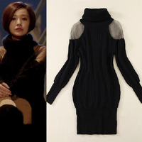 Special offer !2013Fall/Winter Korean Style Women's Strapless StarStyle Turtleneck Slim High Quality Rabbit Sweater DressSS13410
