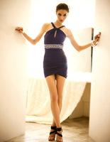 HOT! sexy temptation ~ low-cut diamonds kink Xiaojian hollow Slim package hip skirt dress party dress,free shipping