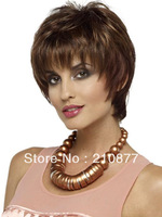 FREE SHIPPING New Fashion Hairstyle Heat Friendly Synthetic Hair Short Brown synthetic hair  wigs For sexy Gril
