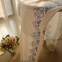 Fashion handmade fabric . american . cross stitch pure linen fabric table runner kitchen cabinet decoration cloth