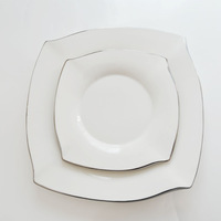 Fashion square western dish set white ceramic plate decoration steak dish tableware swing sets tableware