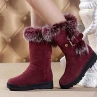 Snow boots female boots fur one piece shoes female winter platform genuine leather rabbit fur waterproof boots