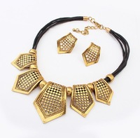 2014 New Arrival Vintage National  Style Hollow Geometry Metal Drop Fashion Necklace Earring Jewelry Set For Ladies