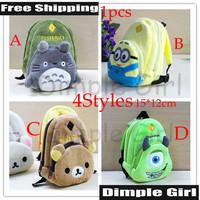 Free Shipping 1pc Japanese Style Kawaii Cute Animal Print Totoro & Rilakkuma Plush Coin Purse Cartoon Small Bag Change Pouch Hot