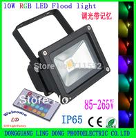 Wholesale 5pcs/lot Floodlights 10W RGB LED Flood Light Outdoor Lighting 16 Color RGB Remote Control spotlight 85-265V IP65