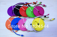 Noodle Flat Micro V8 USB Cable 3m for Samsung Galaxy S3 S2 S4 SII Note 2 HTC/Motorola/Blackberry,200pcs/lot Free DHL/Fedex