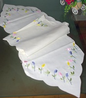 Fashion embroidery flower fabric cutout table runner coffee table dining table heat pad cloth home accessories  =ZqU2