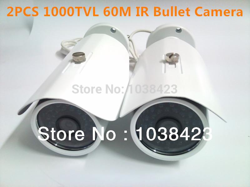 2PCS 1000TVL IR Bullet Camera Kit for Outdoor Using with 60M Long Night Vision Distance(China (Mainland))