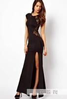 HOT SALE 2014 Women Evening Dress Elegant Short Sleeve Lace Backless Long Black Evening Dress