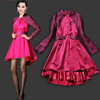 Ho!Hot!Hot!2013 Autum Runway Fashion Ladies Bridesmaid Dress Low-high Rose Stand Collar Organza One-piece Dress  SS13417
