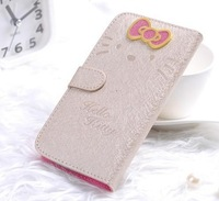 Kitty  Cat Pattern Wallet Flip Leather Stand Case Skin Protector Wite Credit Card Slots Cover for Samsung Galaxy Note 2 N7100