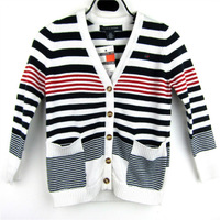 Retail Free shipping Kids V-neck long sleeve cardigans children knitting sweater coat Boys thick knit jacket Striped outerwear