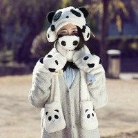 Women's winter warm plush panda earmuffs scarves hats gloves masks thicker birthday gift