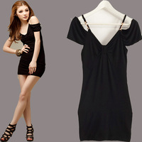 Free Shipping 2014 Hot Sale New Women's Fashion  Formal Chiffon Sleeveless Sheath Above Knee V-neck Solid Sexy Club Dress 6027
