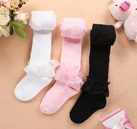 Free Shipping  child pantyhose baby girls lace leggings /white pink black  retail 2pcs/lot