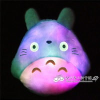 Free shipping Colorful light emitting totoro plush pillow cushion cartoon totoro christmas birthday gift cat