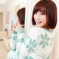 Embroidery onta mohair long-sleeve medium-long knitted sweater outerwear female