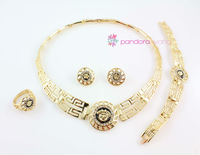 Fashion Lion Head Jewelry Sets 18K Gold Plated Rhinestone Women's Necklace Bracelet Ring Earrings Bangle Jewelry Sets