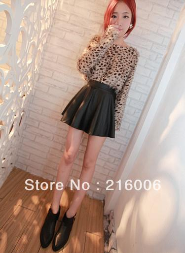 Free shipping autumn - winter new plush leopard dress casual dress clothes women small leather skirt suit(China (Mainland))