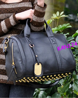 Details about #Z 2C PU Leather Gold Rivet Black Tote Shoulder Messenger Bag Handbag Purse Hobo
