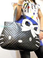 Details about Hello Kitty black leather-like tote bag purse