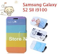 Fashion Flip Wallet Stand Cartoon Printed PU Leahter Case Cover For Samsung Galaxy S2 SII i9100 Phone +Free Screen Film