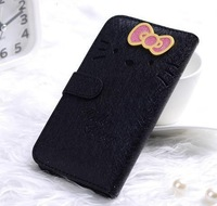Lovely Kitty  Cat Metal Bowknot Style Flip PU Leather Stand Case With Card Slots Protector Cover for Samsung Galaxy S4 IV i9500