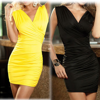 2014 Summer Hip Sexy V-Neck Dress With Thong Fold Mini Dresses Women Dresses Party Clothing V -Neck Dresses