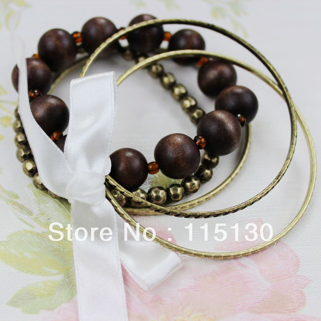 Vintage Jewelry Wooden Beads Charm Bracelets Set For Women Multilayer Beaded Gold Bracelets&am